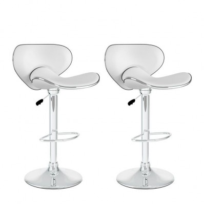 Curved Form Fitting Adjustable Bar Stool in White Leatherette-Set of 2