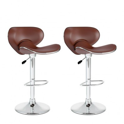 Curved Form Fitting Adjustable Bar Stool in Brown Leatherette-Set of 2