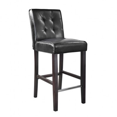 Antonio Bar Height Barstool In Black Bonder Leather
