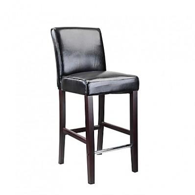 Antonio Bar Height Barstool In Black Bonded Leather