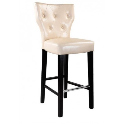 White Leather Button Tufted Counter Height Bar Stool