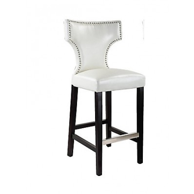 Kings Bar Height Barstool In White With Metal Studs