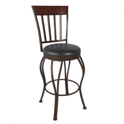 Metal Bar Height Bar Stool with Swivel Dark Brown Leather Seat