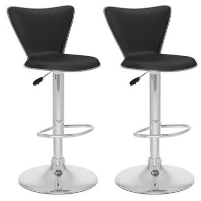 Tall Curved Back Adjustable Bar Stool in Black Leatherette-Set of 2