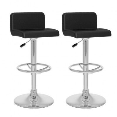 Low Back Adjustable Bar Stool in Black Leatherette-set of 2