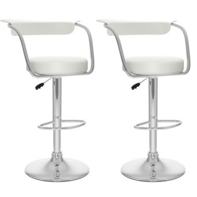 Open Back Adjustable Bar Stool in White Leatherette-Set of 2