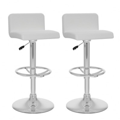 Low Back Adjustable Bar Stool in White Leatherette-Set of 2