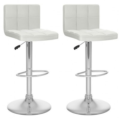 High Back Adjustable Bar Stool in White Leatherette-Set of 2