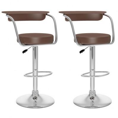Open Back Adjustable Bar Stool in Brown Leatherette-Set of 2