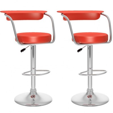 Open Back Adjustable Bar Stool in red Leatherette-Set of 2
