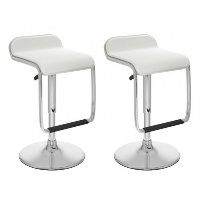 Adjustable Bar Stool with Footrest in White Leatherette-Set of 2