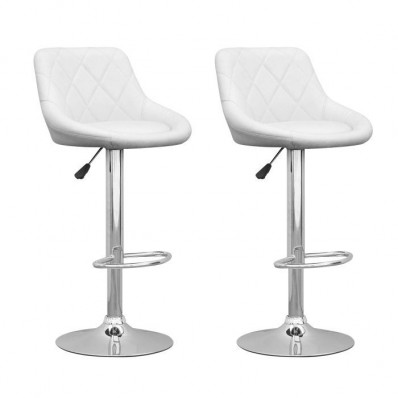Adjustable Diamond Back Barstool in White Leatherette-Set of 2