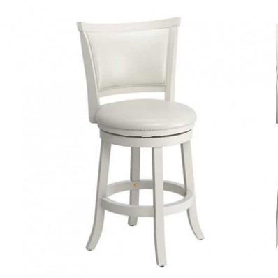 Woodgrove 38 Inch White Wash Wood Barstool With Leatherette Seat