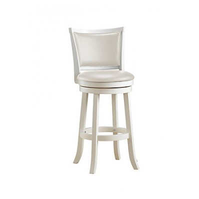 Woodgrove 43 Inch White Wash Wood Barstool With Leatherette Seat