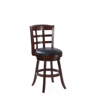 Woodgrove 38 Inch Dark Cappuccino Wood Barstool With Black Leatherette Seat