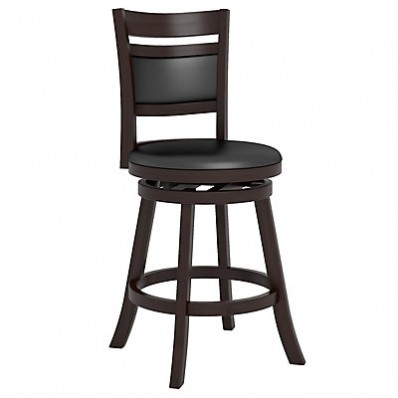 """Woodgrove Cushion Back 38"""" Wooden Barstool in Espresso and Black Leatherette"""
