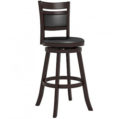 "Woodgrove Cushion Back 43"" Wooden Barstool in Espresso and Black Leatherette"
