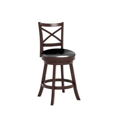 "Woodgrove Cross Back 38"" Wooden Barstool in Espresso and Black Leatherette"