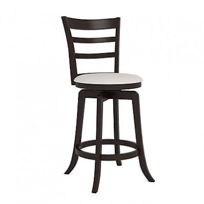 "Woodgrove Three Bar Design 38"" Wooden Barstool in Espresso and Cream Leatherette"