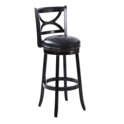 Black Leatherette Scroll Back Bar Height Bar Stool