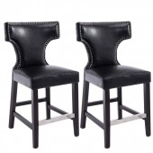 Kings Bar Height Barstool In Black With Metal Studs-Set of 2