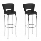 Black and Chrome Bar Height Bar Stool-Set of 2