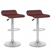 Curved Adjustable Bar Stool in Brown Leatherette-Set of 2