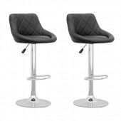 Adjustable Diamond Back Barstool in Black Leatherette-Set of 2