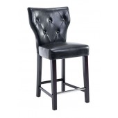 Black Leather Button Tufted Counter Height Bar Stool