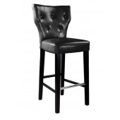 Kings Bar Height Barstool In Black Bonded Leather