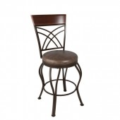 Metal Bar Height Bar Stool with Swivel Brown Leather Seat
