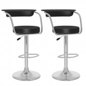 Open Back Adjustable Bar Stool in black Leatherette-Set of 2