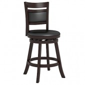 "Woodgrove Cushion Back 38"" Wooden Barstool in Espresso and Black Leatherette"