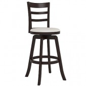 "Woodgrove Three Bar Design 43"" Wooden Barstool in Espresso and Cream Leatherette"