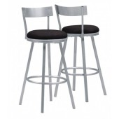 "BARSTOOL - 2PCS / 43""H / SWIVEL / SILVER METAL"