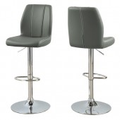 BARSTOOL - 2PCS / GREY/ CHROME METAL HYDRAULIC LIFT