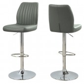 BARSTOOL - 2PCS / GREY / CHROME METAL HYDRAULIC LIFT