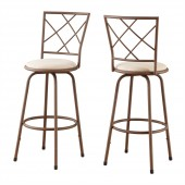 BARSTOOL - 2PCS / SWIVEL / BROWN / BEIGE FABRIC SEAT