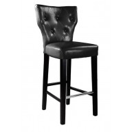 Kings Bar Height Barstool In Black Bonded Leather