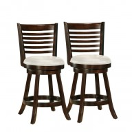 Woodgrove 38 Inch Cappuccino Wood Barstool With Leatherette Seat-Set of 2