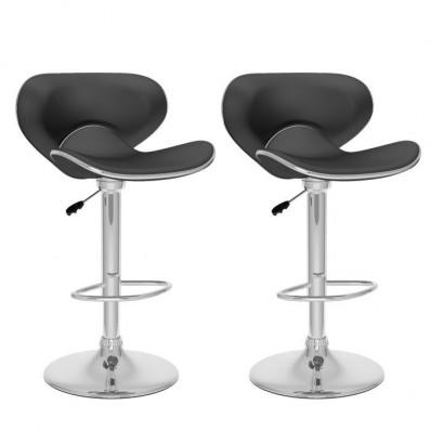 Curved Form Fitting Adjustable Bar Stool in Black Leatherette-Set of 2