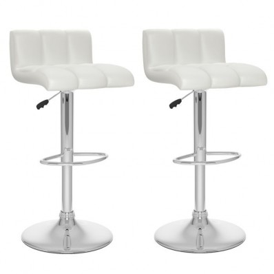 Low Back Adjustable Bar Stool in White Leatherette