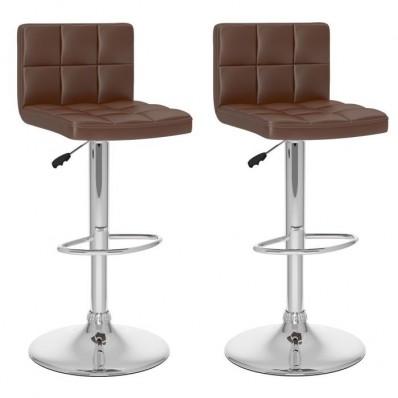 High Back Adjustable Bar Stool in Brown Leatherette-Set of 2