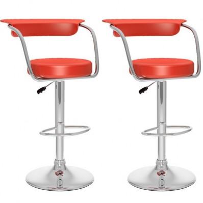 Open Back Adjustable Bar Stool in red Leatherette-Set of 2