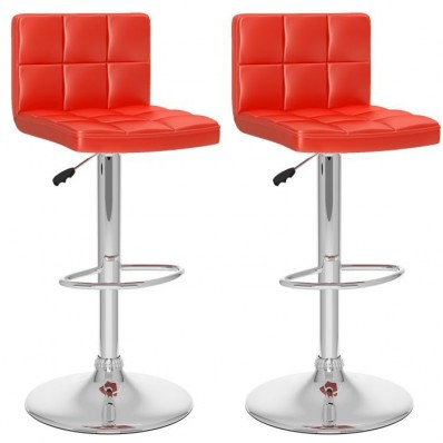 High Back Adjustable Bar Stool in Red Leatherette-Set of 2