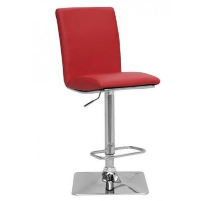 Red Leather Swivel Adjustable Bar Stool