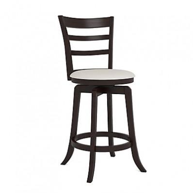 "Woodgrove Three Bar Design 38"" Wooden Barstool in Espresso and Cream Leatherette"