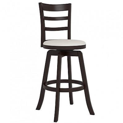 "Woodgrove Three Bar Design 43"" Wooden Barstool in Espresso and Cream Leatherette"
