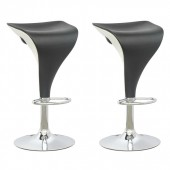 Adjustable Two Toned Barstool in Black and White-Set of 2