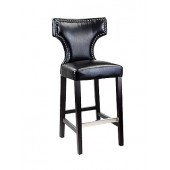 Kings Bar Height Barstool In Black With Metal Studs